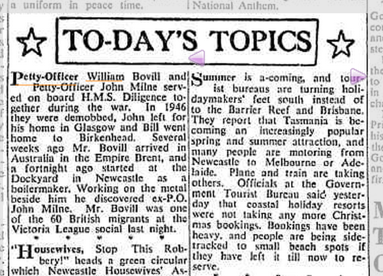 Newcastle Herald Article mentions Bill Bovill (1919-1978) - Saturday 23 September 1950